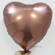 """Фольгированное сердце сатин """"Розовая Медь"""""""