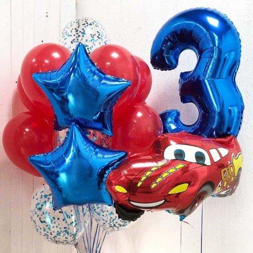 Воздушные шары на 3 года с красной машиной Тачки молния Макквин