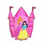 """Шар фигура """"Принцессы и замок"""" розовый"""
