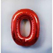 Фольгированная цифра 0 красного цвета