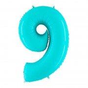 Шар цифра 9 цвета морской волны