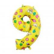 Шар цифра 9 жёлтая с единорогами и сладостями