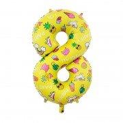 Шар цифра 8 жёлтая с единорогами и сладостями