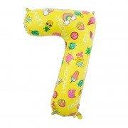 Шар цифра 7 жёлтая с единорогами и сладостями