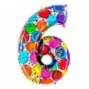 Фольгированная цифра 6 Серпантин