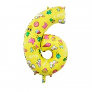 Шар цифра 6 жёлтая с единорогами и сладостями
