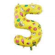 Шар цифра 5 жёлтая с единорогами и сладостями