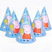 Колпаки, Свинка Пеппа, С Днем Рождения! Голубой 6 шт.