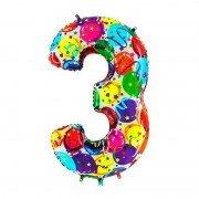 Фольгированная цифра 3 Серпантин