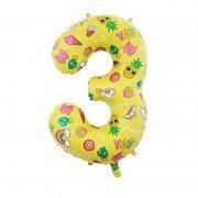 Шар цифра 3 жёлтая с единорогами и сладостями