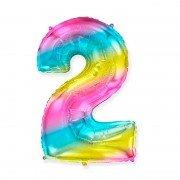 Шар цифра 2 радужный градиент