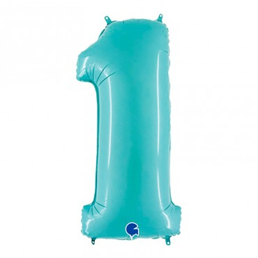 Надувной шарик цифра 1 для праздника цвета аквамарин