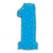 Фольгированная цифра 1 голубая со звёздочками