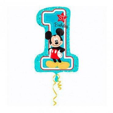 Надувной шар цифра 1 для мальчика Микки Маус