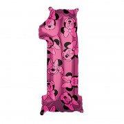 Фольгированная цифра 1 Мини маус розовая