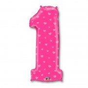 Фольгированная цифра 1 розовая с сердечками