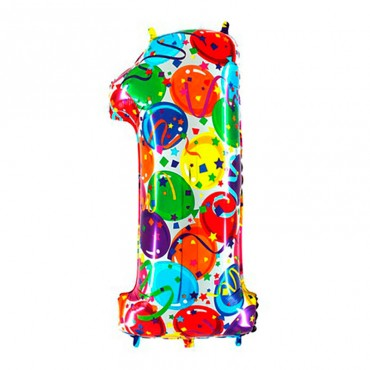 Надувной шарик из фольги цифра 1 для праздника