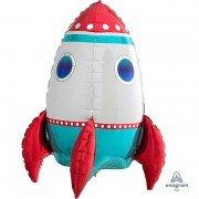 Шар (21''/53 см) Фигура, 3D ракета, Трехцветная 1 шт.