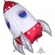 Шар (40''/100 см) Фигура, Космическая ракета, Красно-белая 1 шт.