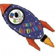 Шар (40''/102 см) Фигура, Космическая ракета, С Днем Рождения, 1 шт.