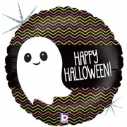 Шар (18''/46 см) Круг, Маленькое привидение, Веселый Хэллоуин, Черный, Голография, 1 шт.