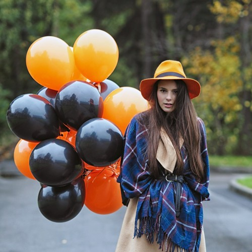 Шарики на Хэллоуин чёрного и оранжевого цвета микс