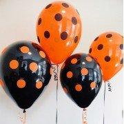 Шарики на Хэллоуин чёрные и оранжевые в горошек