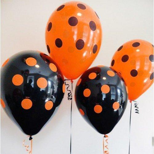 Воздушные шарики на Хэллоуин чёрные и оранжевые в точечку