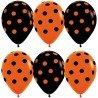 Воздушные шарики на Хэллоуин чёрные и оранжевые в точечку 2