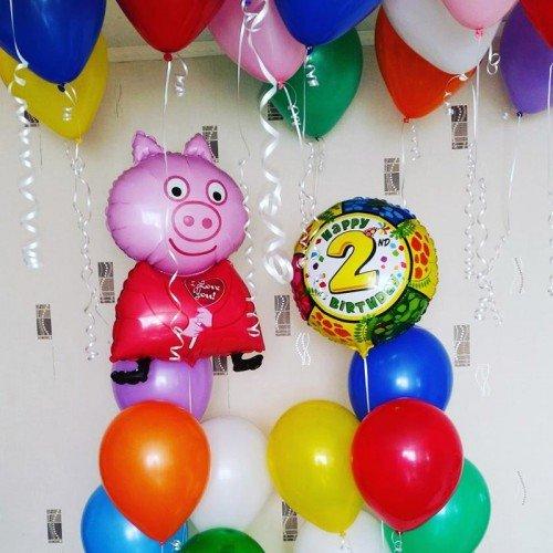 Шарики на 2 года со Свинкой пепой и 2 фонтанами