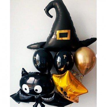 Фонтан из шаров на Хэллоуин с шляпой ведьмы