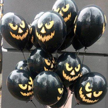 Воздушные шарики на Хэллоуин чёрные со страшными мордочками