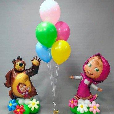 Набор шариков с Машей на основании и с Медведем на основании