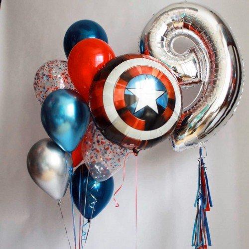 Украшение шариками в стиле Капитан Америка