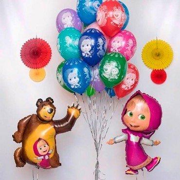 Воздушные шары Маша и Медведь с фонтаном и фигурами Маши и Миши