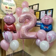 """Украшение шарами на 2 года """"Свинка Пеппа и ее друг"""""""