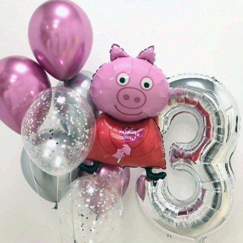 Комплект шариков Свинка Пеппа на 3 годика