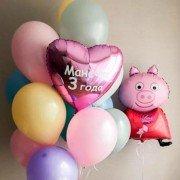 Украшение шарами Свинка Пеппа и сердце с надписью