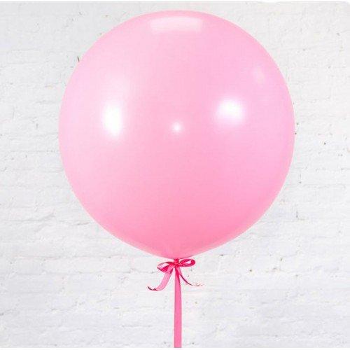 Большой шар нежно розового цвета с лентой