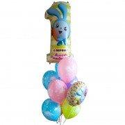 Фонтан с шариками Малышариками на первый день рождения