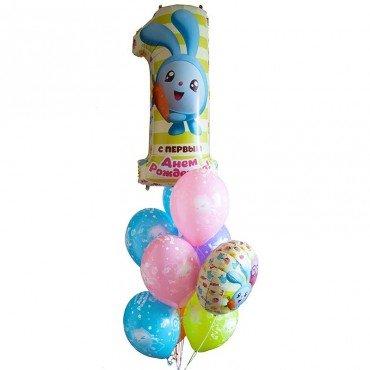 Фонтан с шариками смешарики и цифрой один