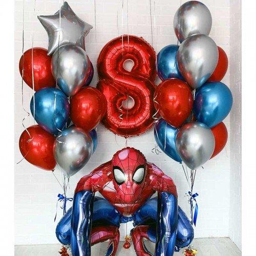 Украшение шариками в стиле Человек Паук