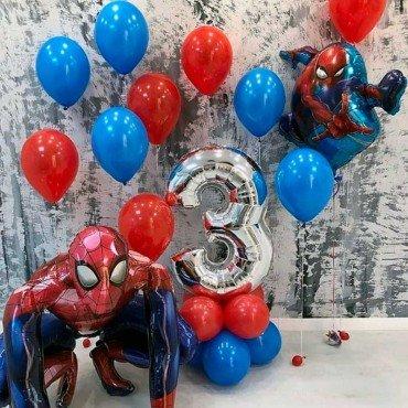 Украшение шарами Человек паук на 3 года