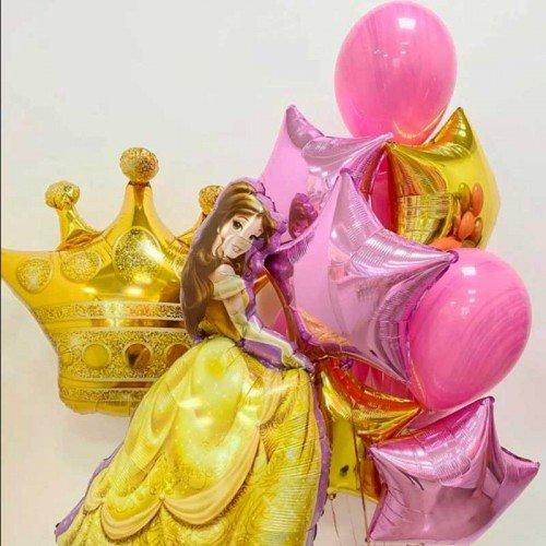 Оформление шарами с фигурой Белль принцессы дисней