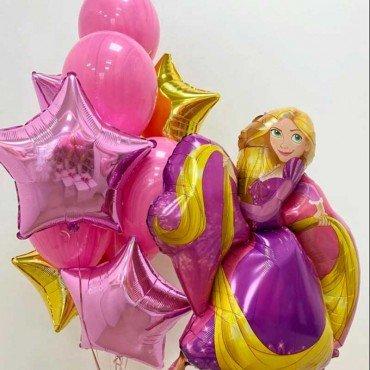 Оформление шарами с фигурой Рапунцель принцессы дисней
