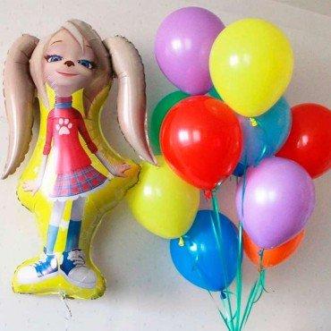 Яркий фонтан из шариков и шар фигура Розочка Барбоскина