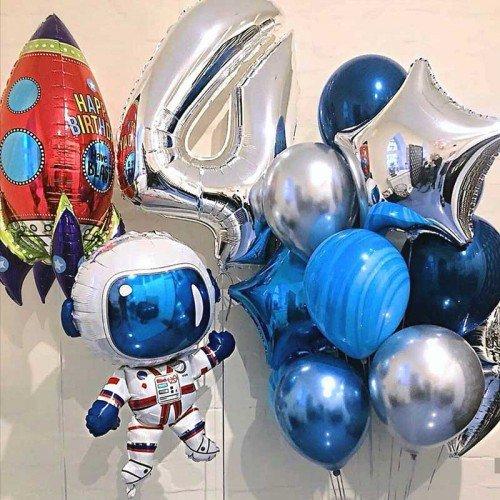 Комплект шариков в стиле космос с цифрой и ракетой
