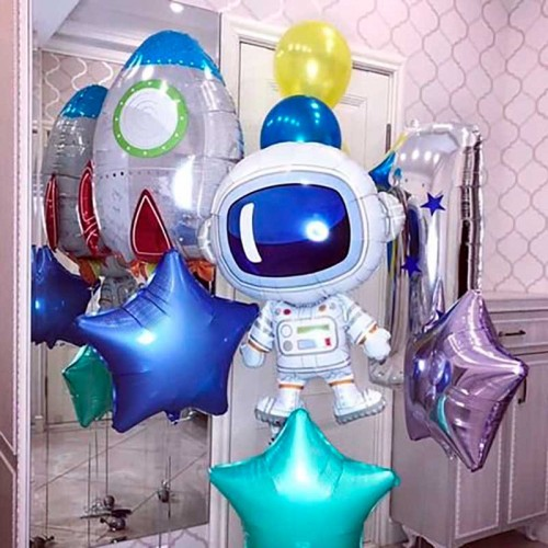 Комплект шаров с космонавтом и звездами