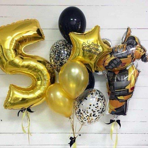 Комплект шаров с фонтаном и цифрой с трансформером Бамблби