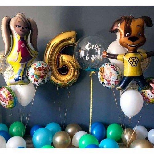 Композиция шариков Барбоскины с цифрой
